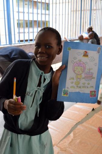 Sherry, de onze anos, com seu desenho